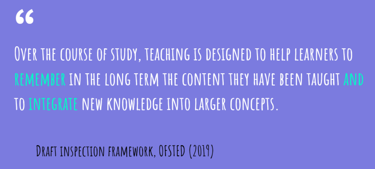Ofsted framework on memory and context